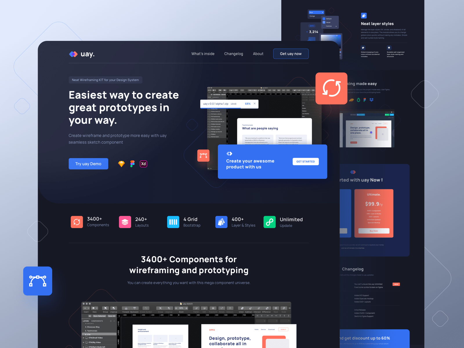 Wireframe KIT Landing Page by Ilham Yoga